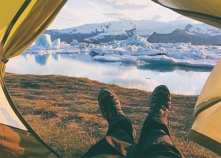 Izlandra olcsón - kilátás a sátorból a jéghegyekre